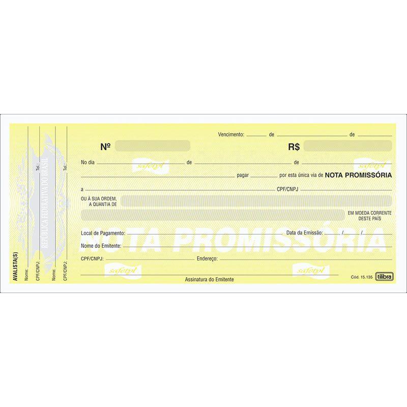 Nota Promissória 215X95Mm Bloco Com 50 Folhas 151351 Tilibra 01669