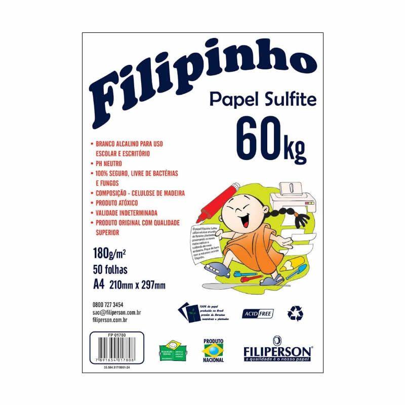 Papel 60Kg 180Gr Filiperson Branco A4 Com 50 Fls 25067