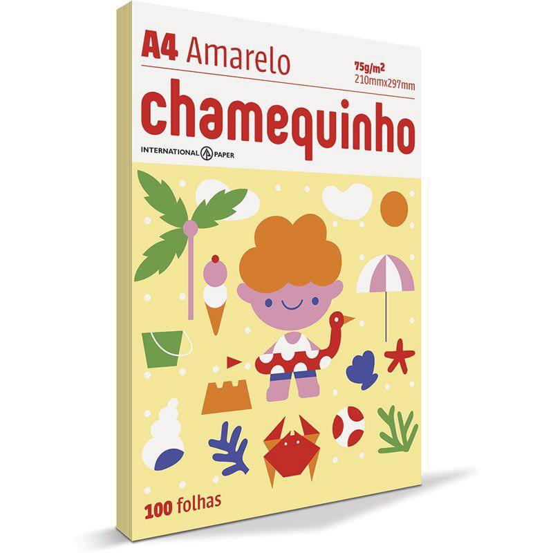 Papel A4 Chamequinho Amarelo 75G com 100 Fls 15653