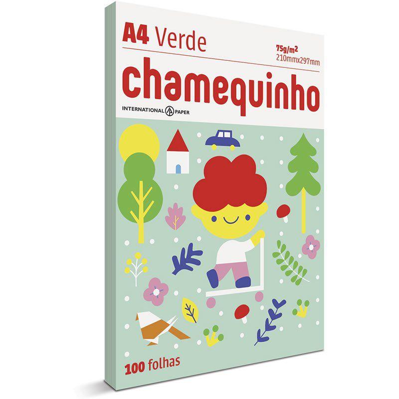 Papel A4 Chamequinho Verde 75G com 100 Fls 15657