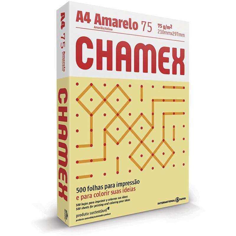 Papel A4 Chamex Amarelo 75g Com 500 Fls 15647
