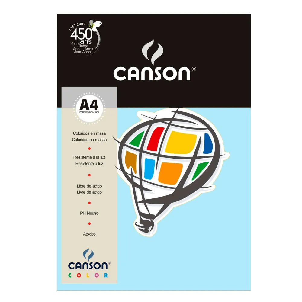 Papel Canson Color Azul Claro 180G/M2 A4 210X297mm 10 Fls 66661199 27877