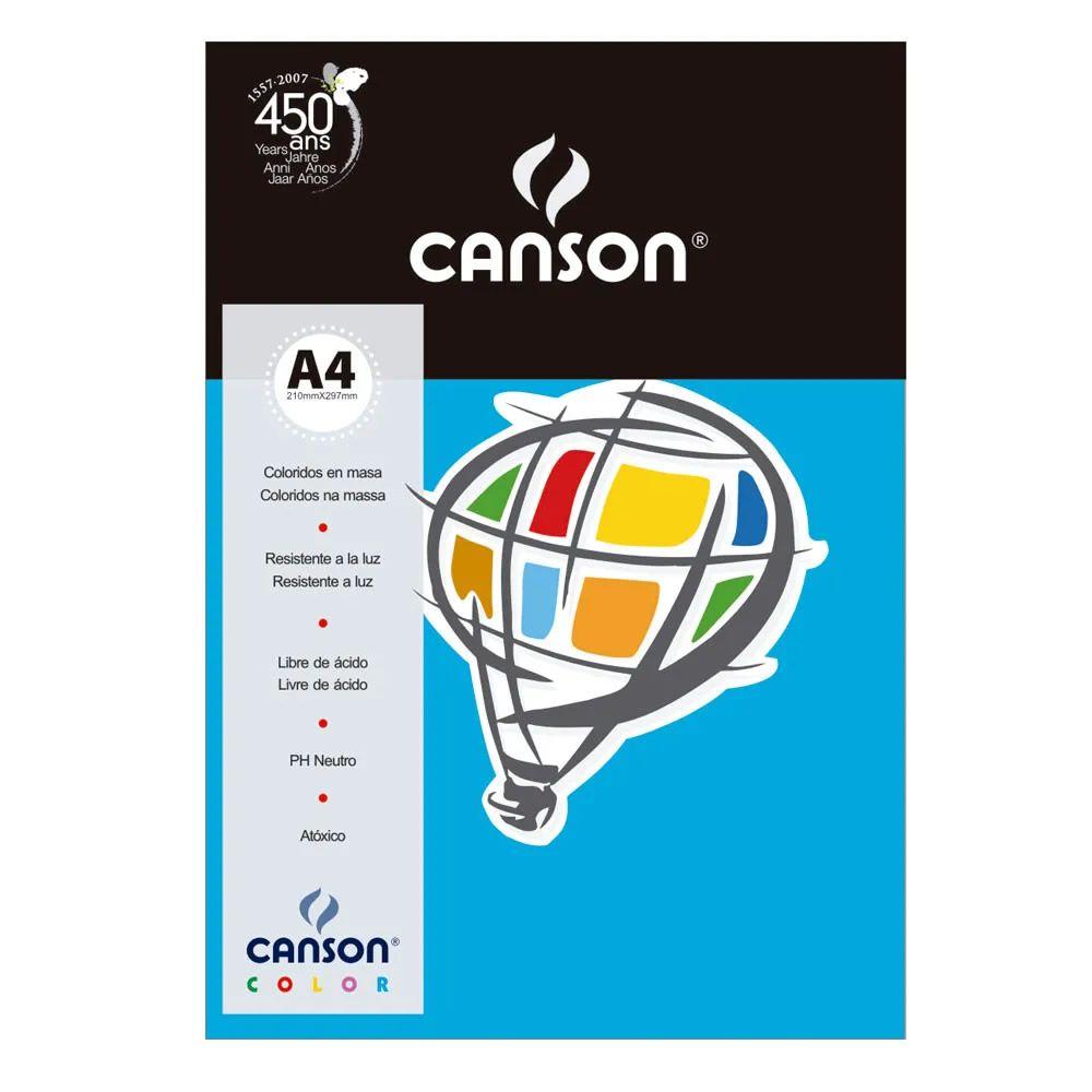 Papel Canson Color Azul Royal 180G/M2 A4 210X297mm 10 Fls 66661201 27879