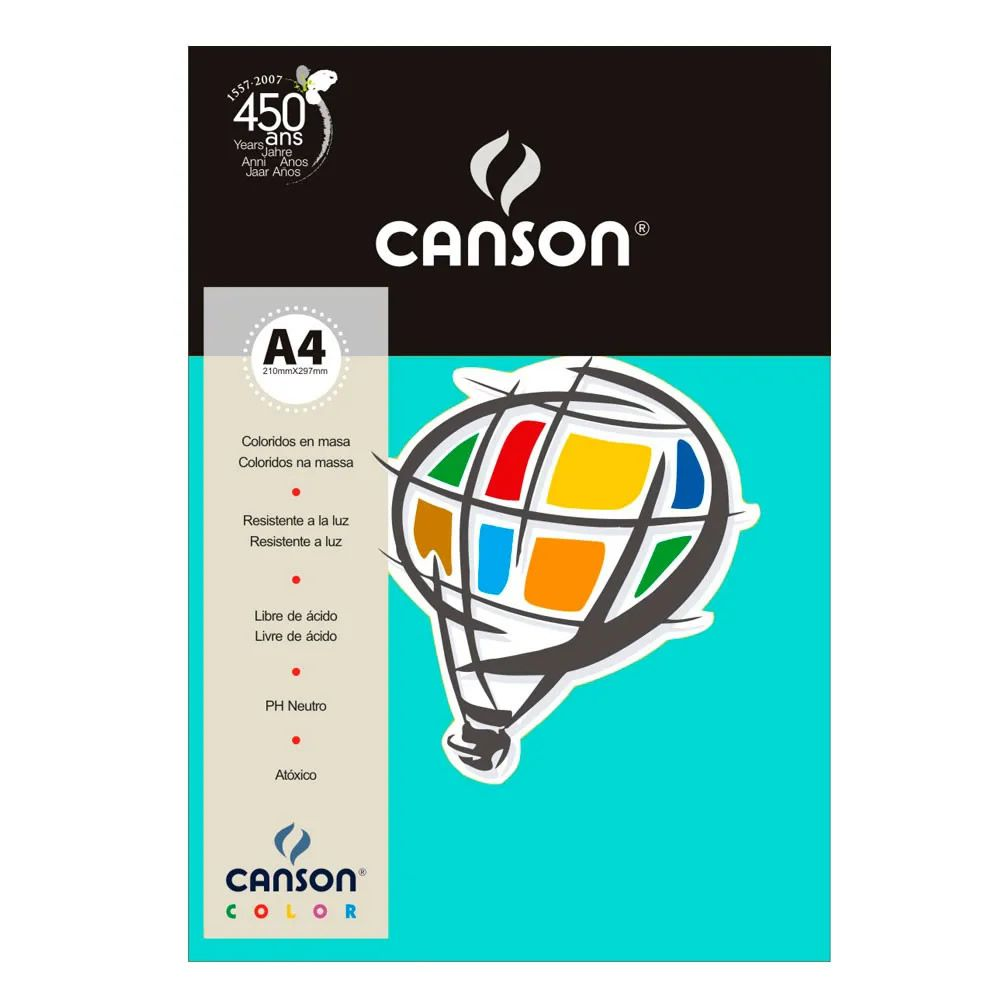 Papel Canson Color Azul Turquesa 180G/M2 A4 210X297mm 10 Fls 66661200 27878