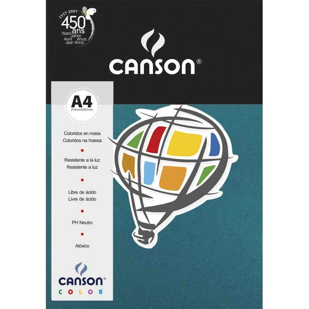 Papel Canson Color Mar do Caribe 180G/M2 A4 210X297mm 10 Fls 66669808 27900