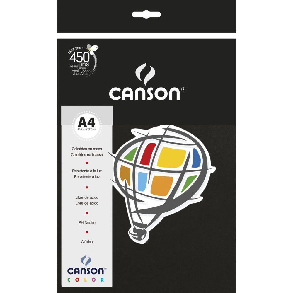 Papel Canson Color Preto 120G/M2 A4 210X297Mm 15 Fls 66661237 28266