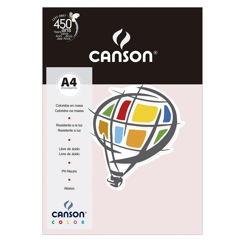 Papel Canson Color Rosa Claro 120G/M2 A4 210X297mm 15 Fls 66661221 27884