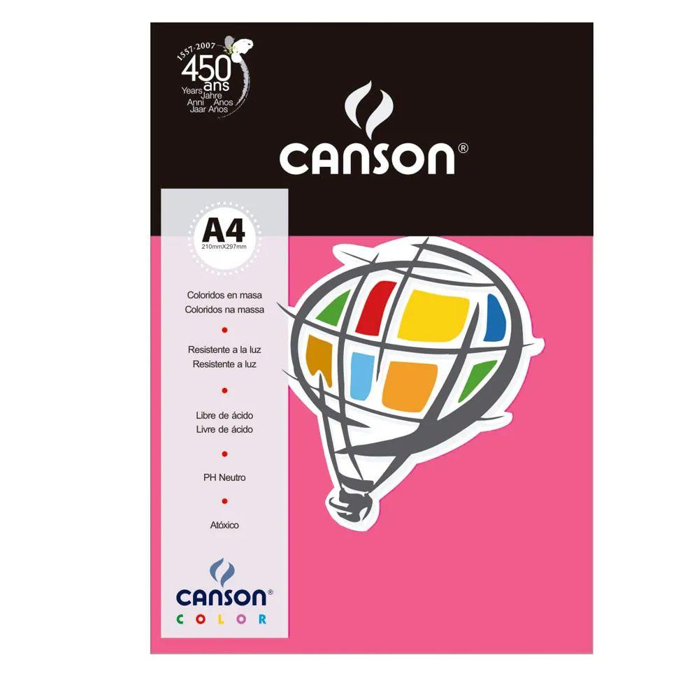Papel Canson Color Rosa Escuro 180G/M2 A4 210X297mm 10 Fls 66661196 27874