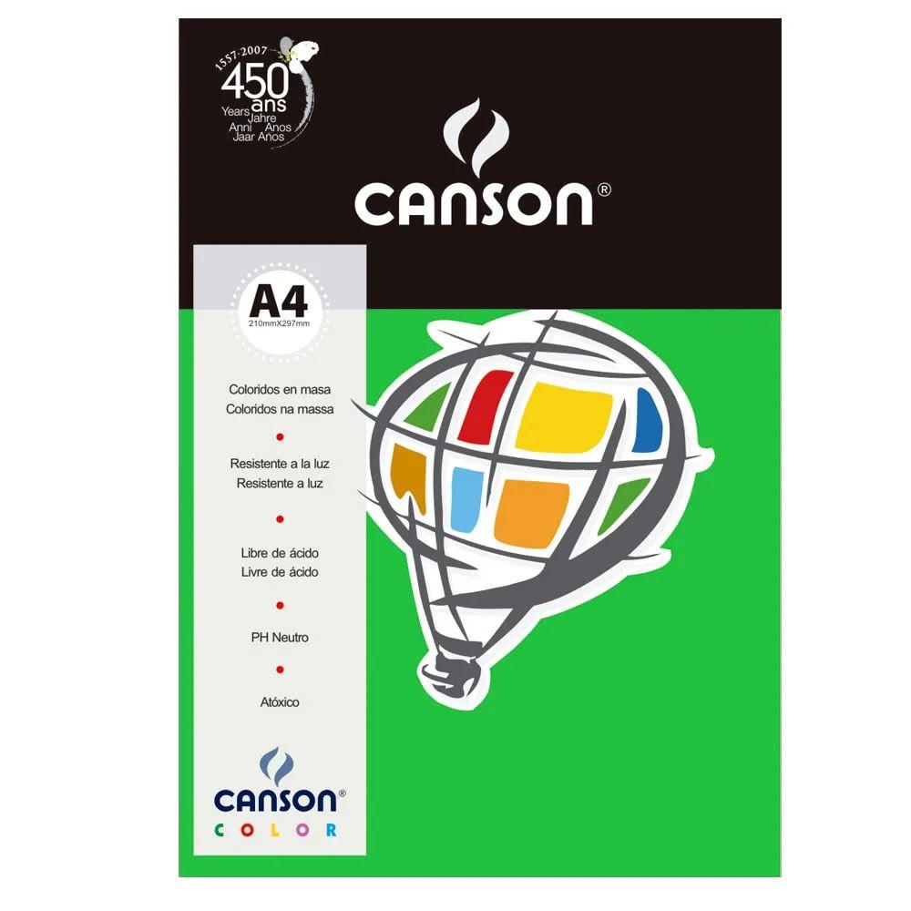 Papel Canson Color Verde Claro 180G/M2 A4 210X297mm 10 Fls 66661204 27880
