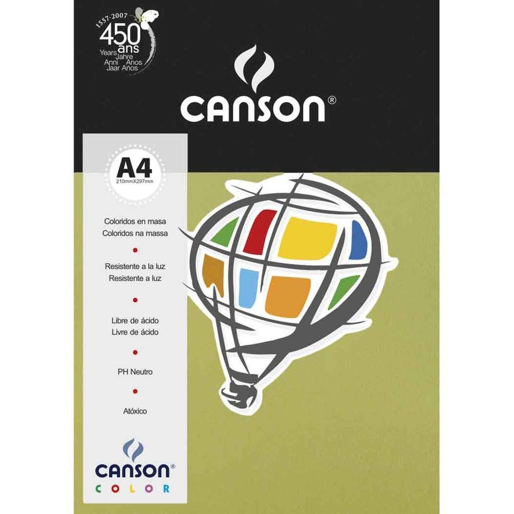 Papel Canson Color Verde Kiwi 180G/M2 A4 210X297mm 10 Fls 66669810 27902