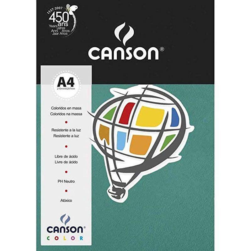 Papel Canson Color Verde Menta 180G/M2 A4 210X297mm 10 Fls 66669809 27901