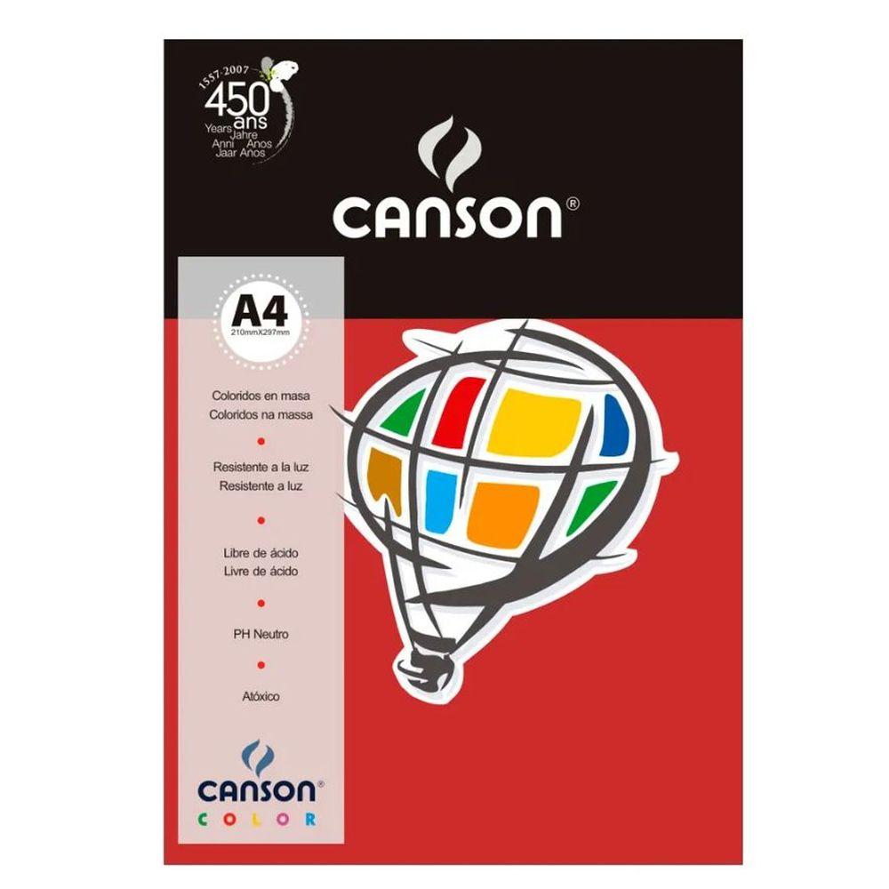 Papel Canson Color Vermelho 180G/M2 A4 210X297Mm 10 Fls 66661193 28267