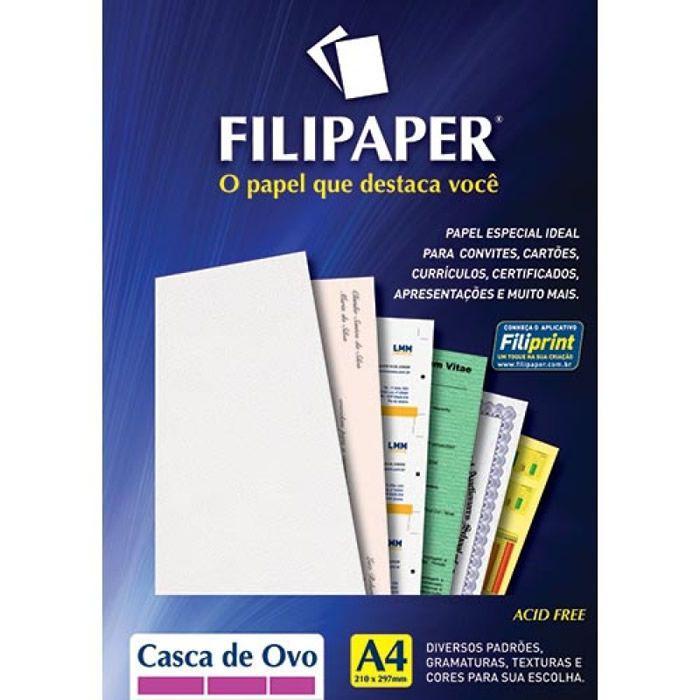 Papel Casca de Ovo Branco A4 180G 50 Fls 00944 Filipaper 02212