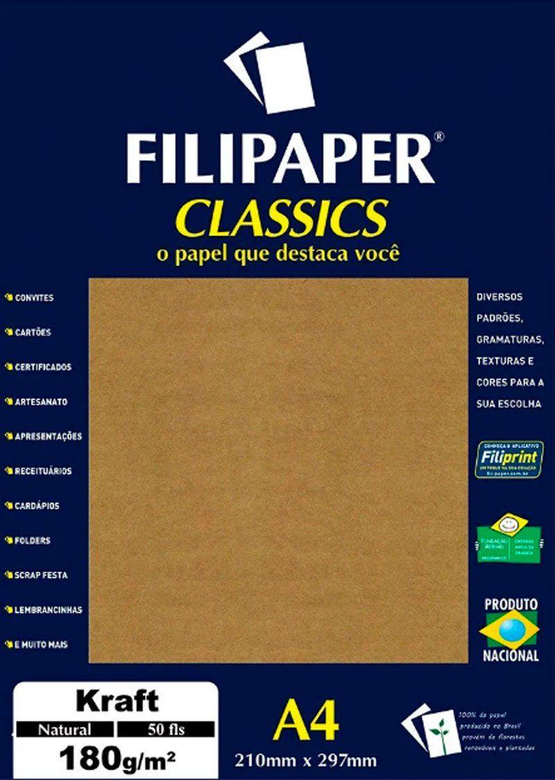Papel Classics Filipaper Kraft Natural A4 180G 50 Folhas 00942 25327