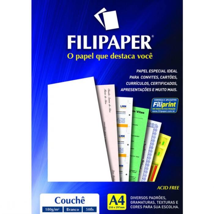Papel Couche A4 180G Brilho Laser com 50 Fls 01047 Filipaper 10924
