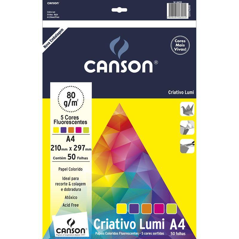 Papel Criative Lumi Paper A4 5 Cores 80G 50 Fls 66667162 Canson 15027