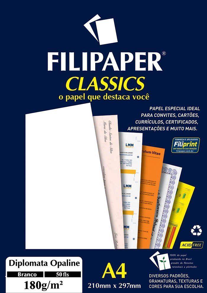 Papel Diplomata Branco A4 180G  01445 Filipaper 06027