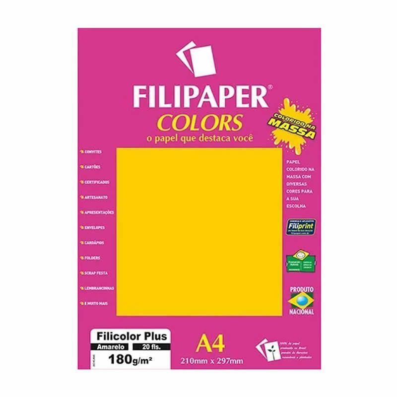 Papel Filipaper Filicolor Plus Amarelo A4 180Gr. 20Fls 02391 25322