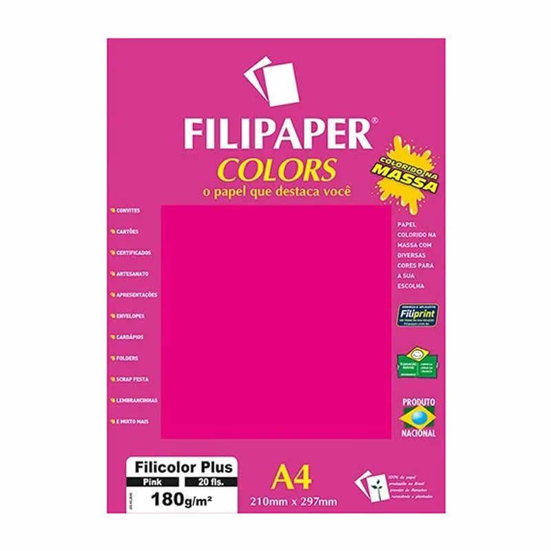 Papel Filipaper Filicolor Plus Pink A4 180Gr. 20Fls 02394 25323