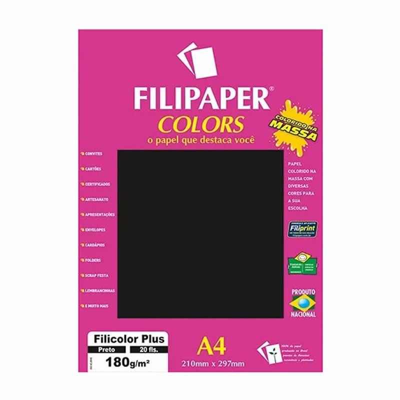 Papel Filipaper Filicolor Plus Preto A4 180Gr. 20Fls 02395 25326