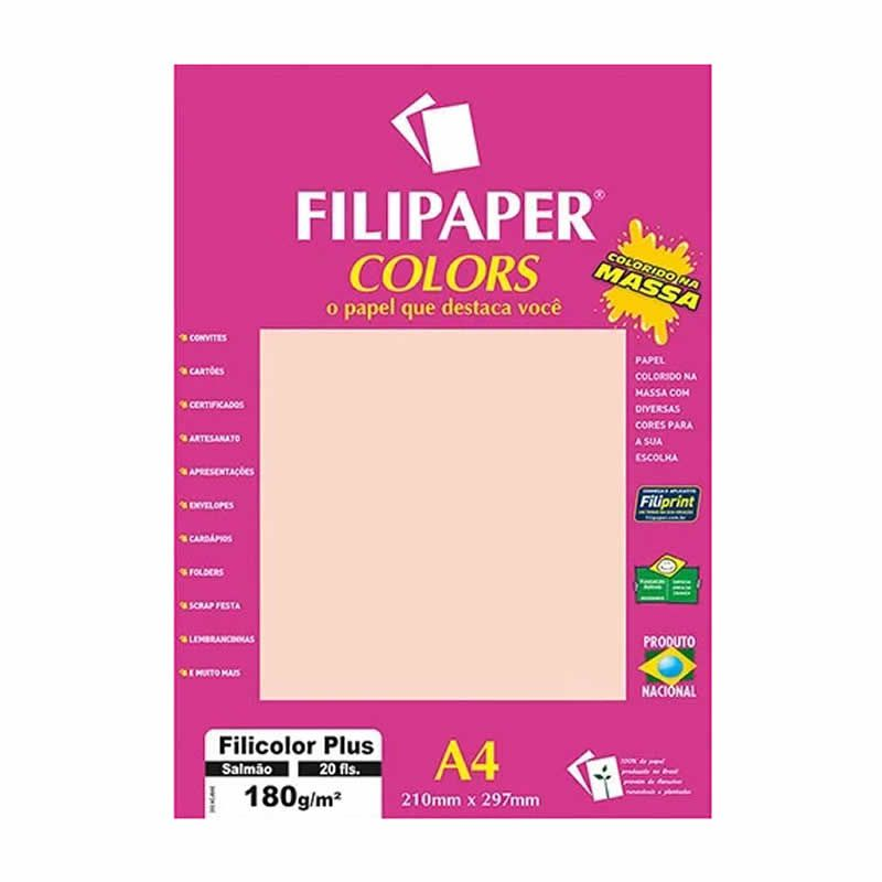 Papel Filipaper Filicolor Plus Salmao A4 180Gr. 20Fls 02396 25321