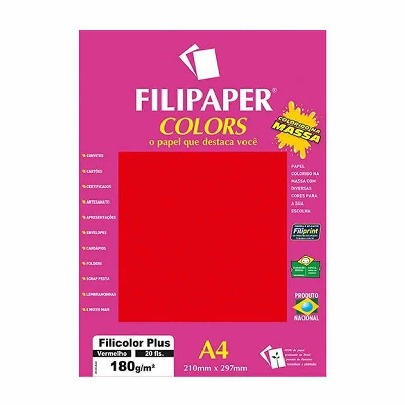 Papel Filipaper Filicolor Plus Vermelho A4 180Gr. 20Fls 02397 25324