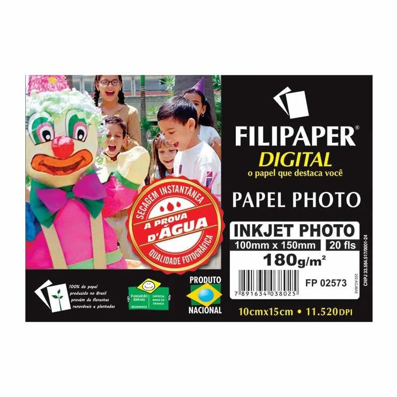 Papel Foto Filipaper Ink Jet Photo Alto-Brilho 10X15 180Gr 20 Fls 02573 15770