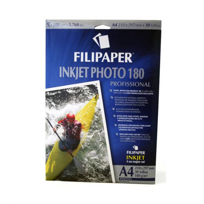 Papel Foto Ink Jet Photo Alto Brilho 180G A4 com 30 Fls 02572 Filipaper 11361