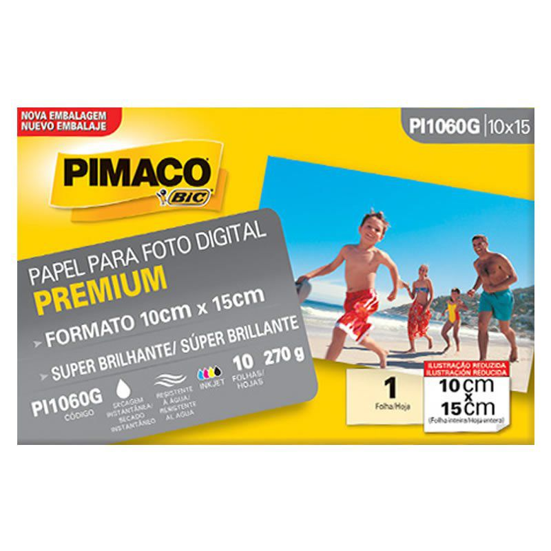 Papel Foto Pimaco Ink Jet 10X15 Super-Brilho 270Gr Com 10 Fls Pi1060G 07392