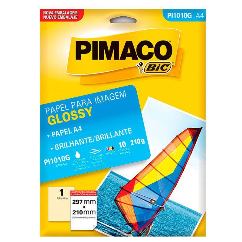 Papel Glossy Ink Jet Brilho A4 210G com 10 Fls Pi1010G Pimaco 15762