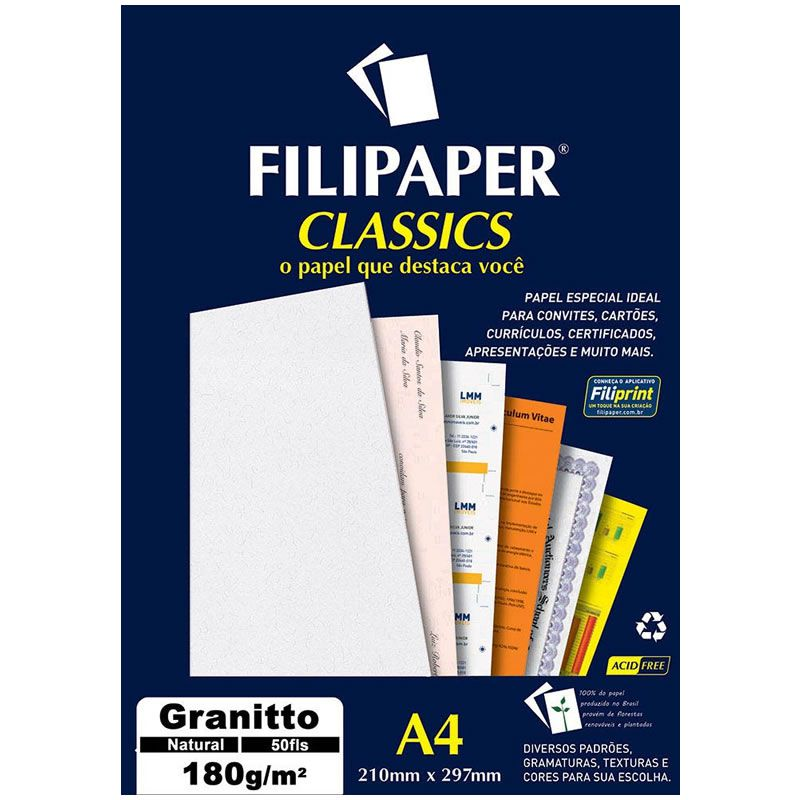 Papel Granitto Natural A4 180G 50 Fls 00989 Filipaper 02240