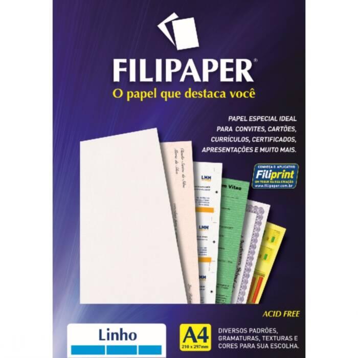 Papel Linho Branco A4 180G 50 Fls 00967 Filipaper 02220