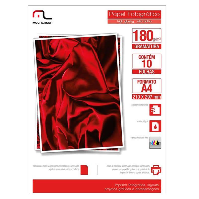 Papel Multilaser Glossy Paper A4 180G Com 10 Folhas PE030 18715