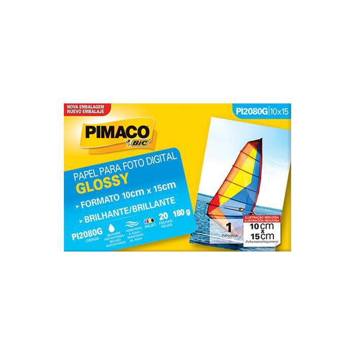 Papel Eco Gloss Glossy 180G Envelopes 20 Fls (10X15) Pi2080G Pimaco 07393