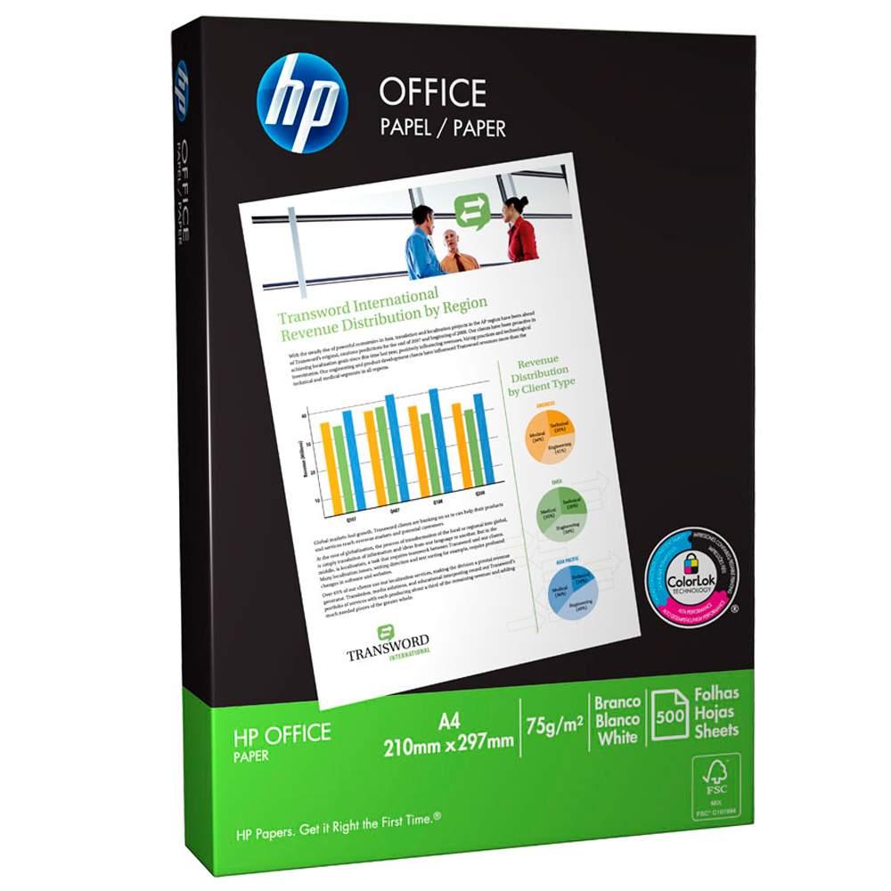 Papel Sulfite A4 HP Paper Office 500 Folhas 75G/M² 15631
