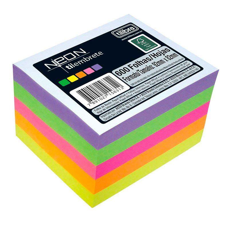 Papel Tilembrete 75G com 600 Folhas Colorida Neon 94X80Mm Tilibra 156311 16982