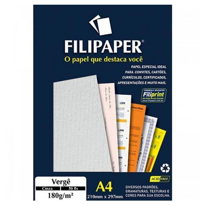 Papel Verge Cinza A4 180G 50 Fls 00979 Filipaper 02232