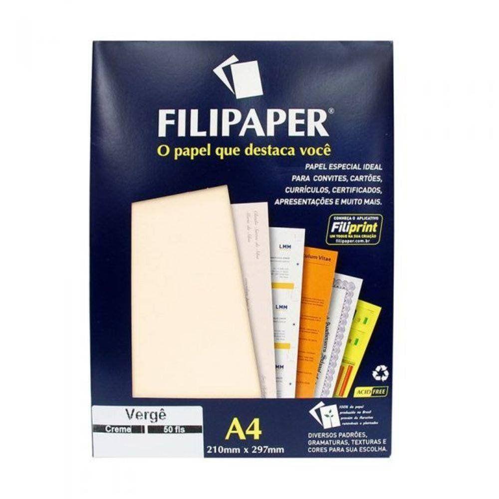 Papel Verge Filipaper Creme A4 180Gr 50 Fls 00981 02234