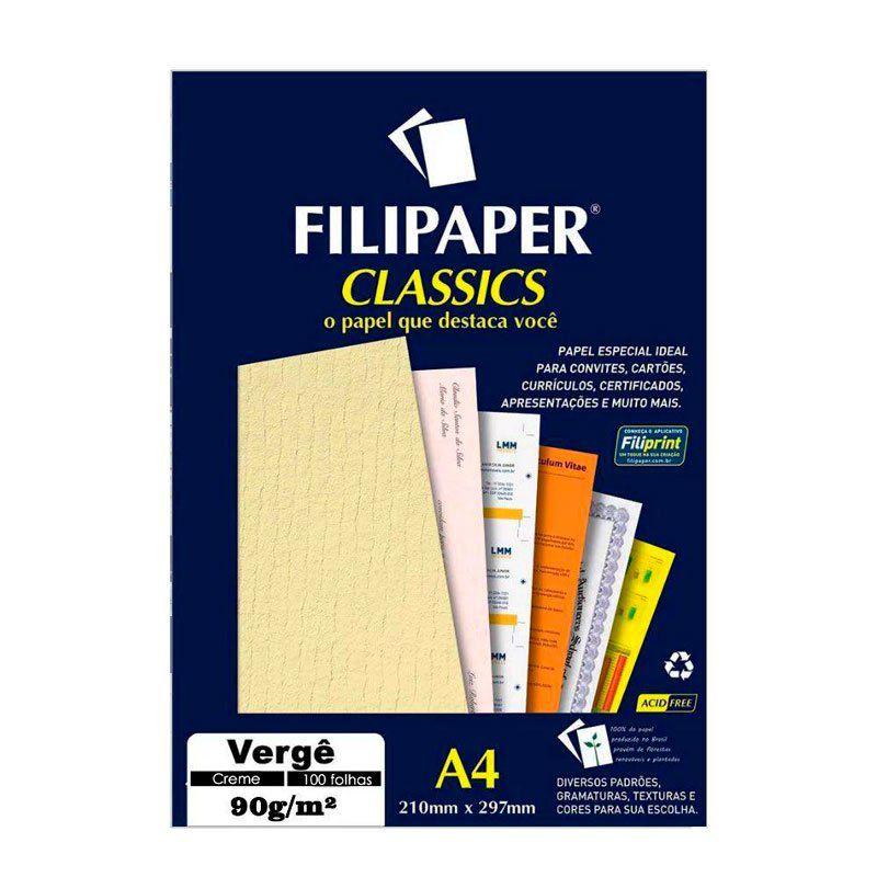 Papel Vergê Filipaper Creme A4 90G 100 Fls 00980 02233