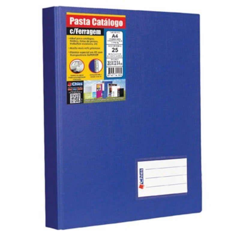 Pasta Catalogo Chies A4 Com 25 Fls + Porta Cartoes Azul Royal 1173-7 08268