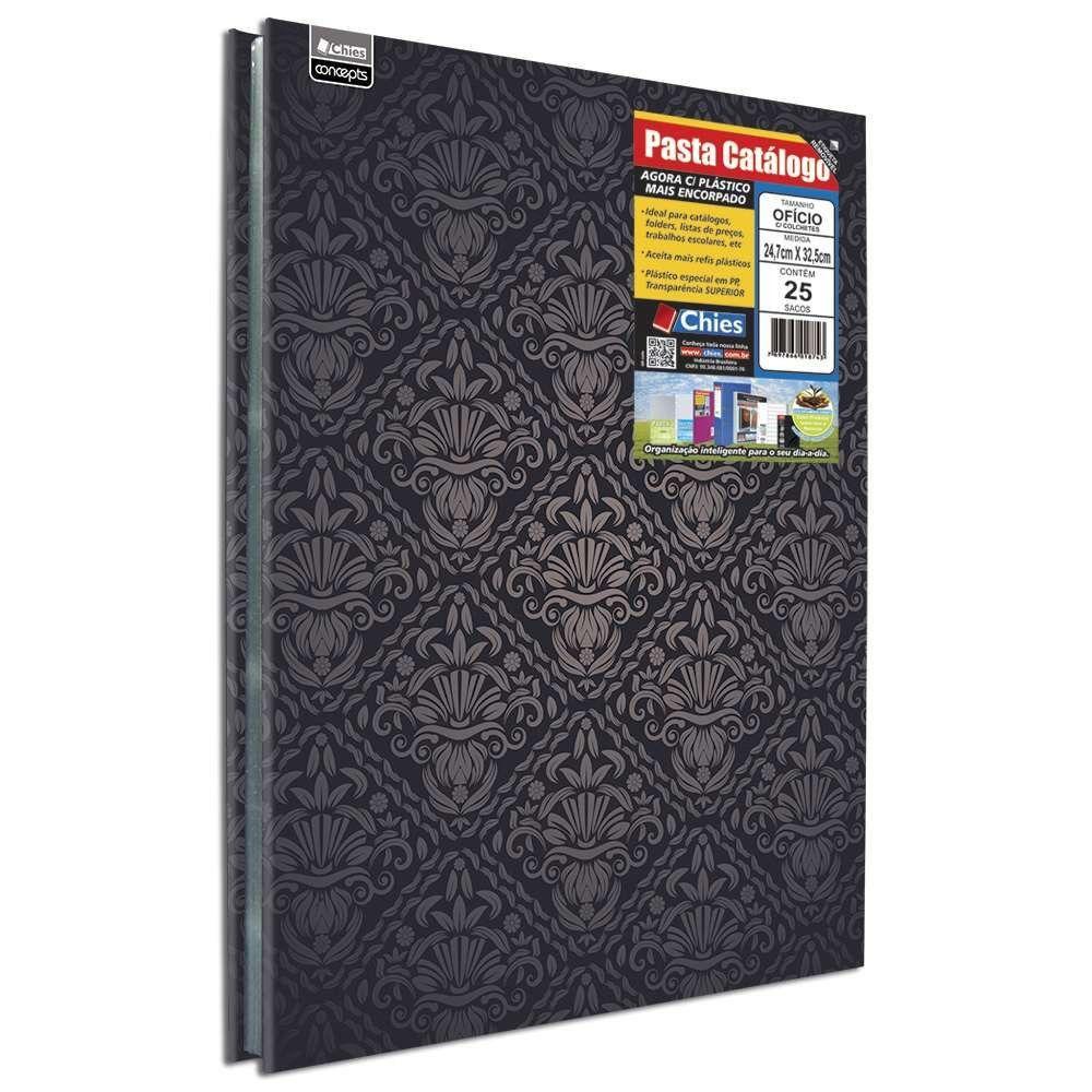 Pasta Catálogo Chies com Colchete Ofício Deluxe com 25 Sacos 5350-8 25558