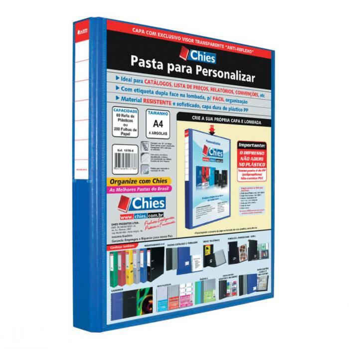 Pasta Fichário Personalizavel A4 Azul para 120 Fls 4 Arg. 1400 Chies 08273
