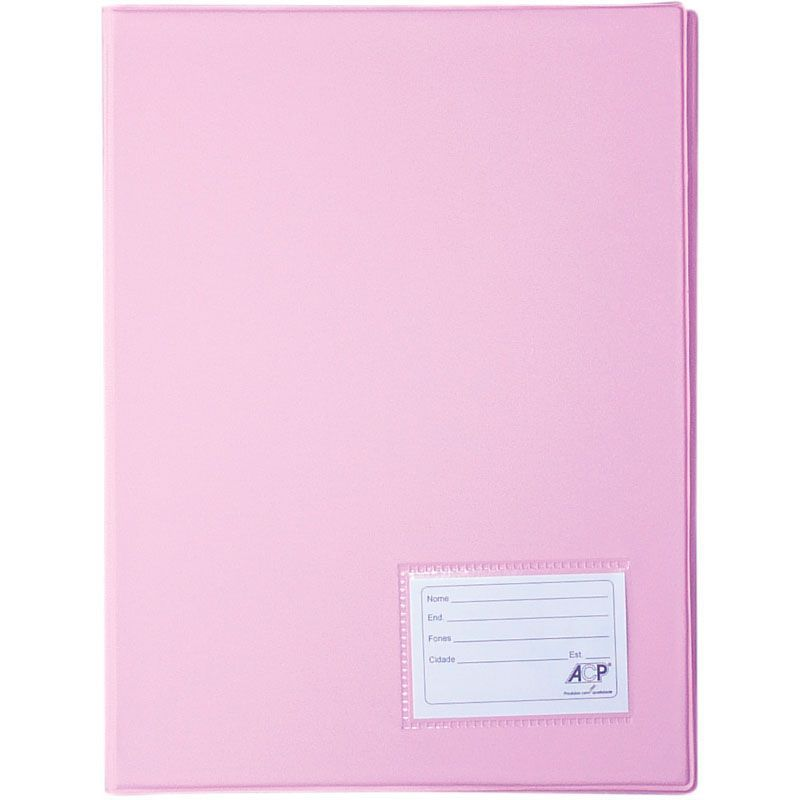 Pasta Catálogo Rosa 335X245 com 20 Envelopes Plast. 0,12Cm PP. 132 ACP 15050