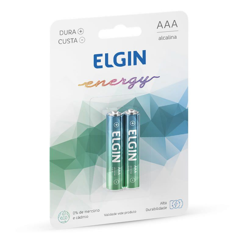 Pilha Elgin Alcalina Palito AAA 2 Un. 82154 16020