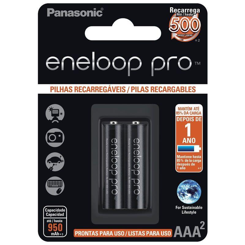 Pilha Panasonic Eneloop Pro Recarregável Palito AAA 2 Un. BK-4HCDE/2BB 25004