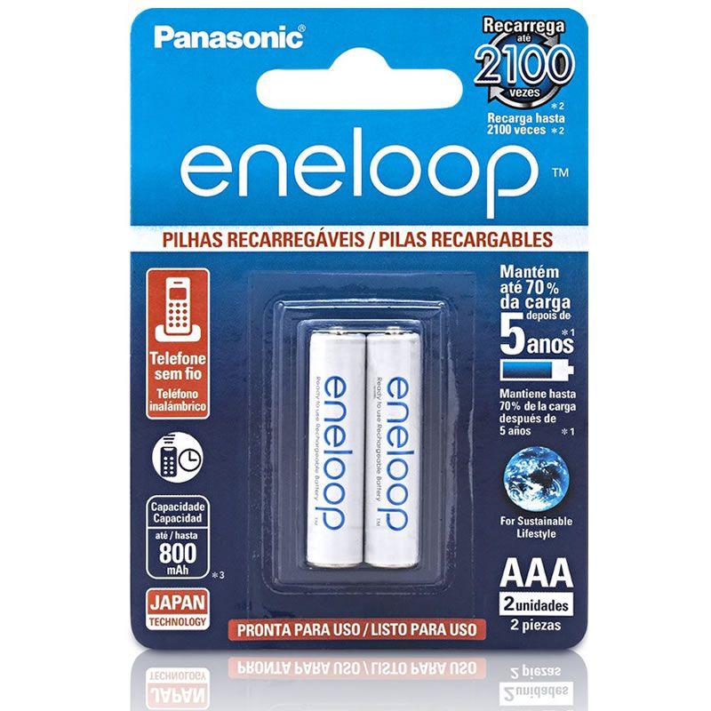 Pilha Panasonic Eneloop Recarregável Palito AAA 2 Un. BK-4MCCE/2BB 24140