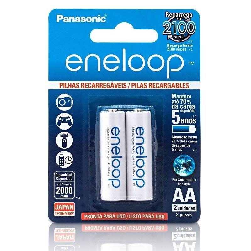 Pilha Panasonic Eneloop Recarregável Pequena AA 2 Un. BK-3MCCE/2BB 24139