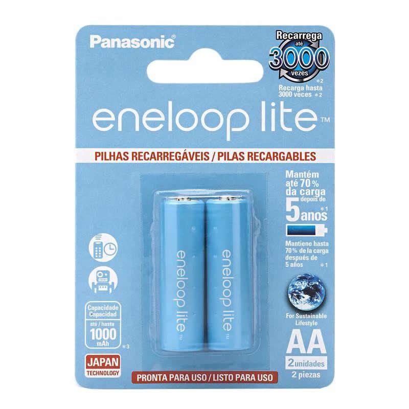 Pilha Panasonic Eneloop Lite Recarregável Pequena AA 2 Un. BK-3MCCE/2BB 24138