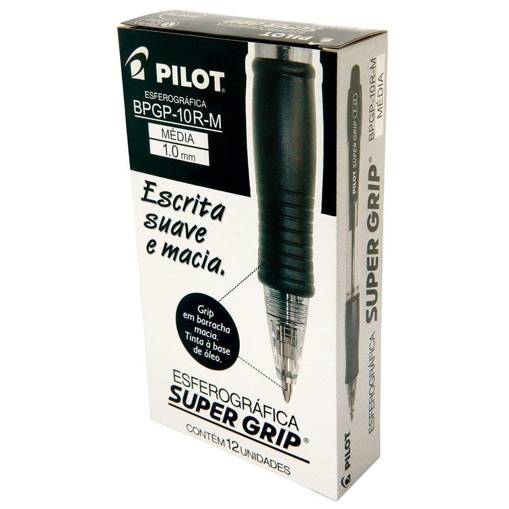 Pilot 1410004PR, Caneta Retrátil Emborrachada, Bpgp-S Supergrip 1.0 mm, Multicor