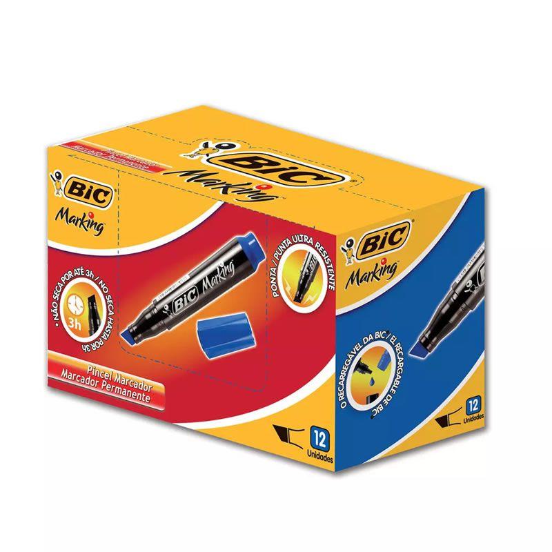 Pincel Atômico BIC Recarregável Azul Com 12 Un 904385 20947